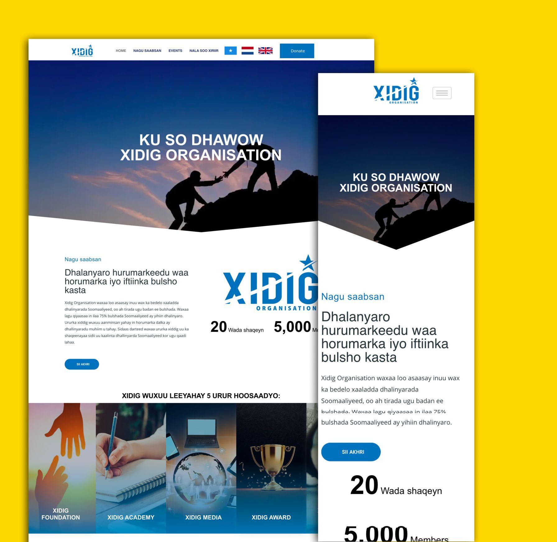xidig organisation website desktop en mobiel