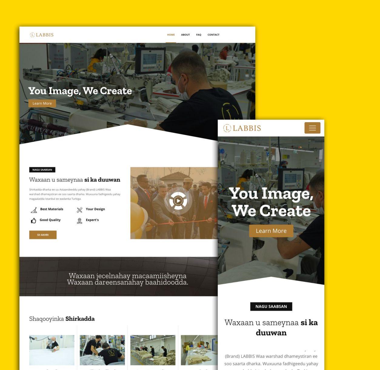 labbis desktop en telefoon website